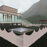 3D House in mountains overview lake