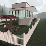 3D House in mountains overview front