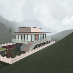 3D House in mountains overview